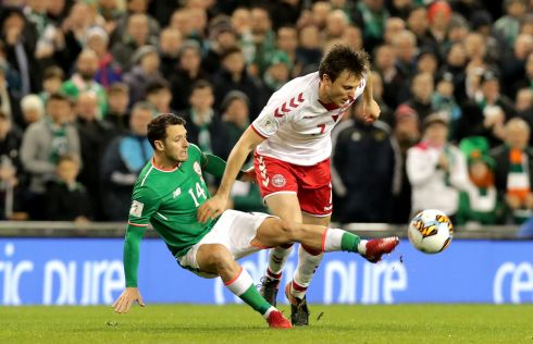 Final game in green: the ill-fated World Cup playoff second leg against Denmark at the  Aviva Stadium in November. Photograph: Morgan Treacy