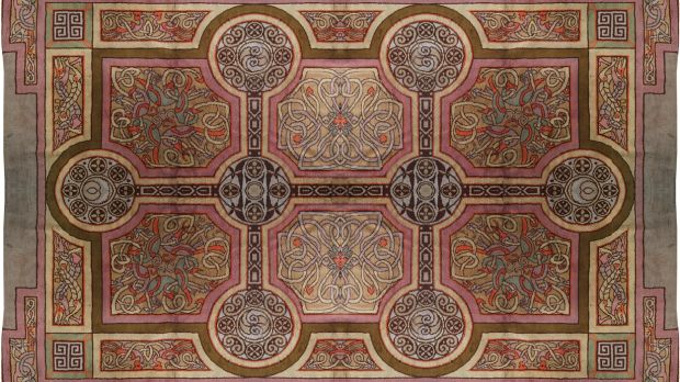 The 20th century Donegal carpet based on a design inspired by Book of Kells imagery
