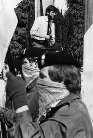 Gerry Adams, MP, speaking at a  Sinn Fein ceremony commemorating Wolfe Tone at Bodenstown, Co Kildare, 1983.  Photograph: Pat Langan / The Irish Times