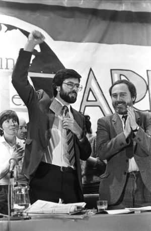 President of Sinn Fein, Mr. Gerry Adams, M.P., is applauded by Mr. Danny Morrison after his address to the Sinn Fein Ard-fheis, 1984.  Photograph: Jack McManus / The Irish Times