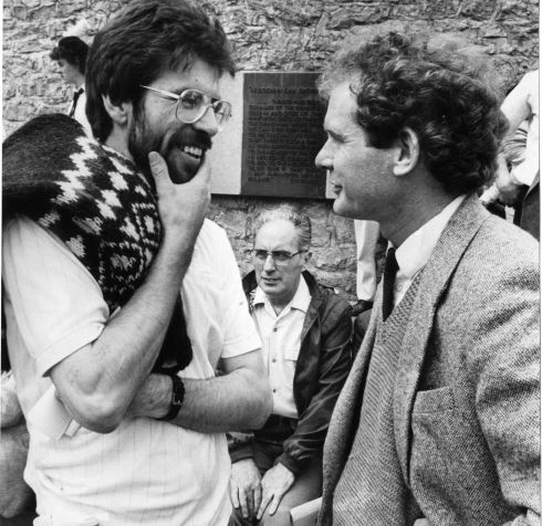 Mr Gerry Adams (left), president of Sinn Fein; Ruairi O Bradaigh (seated), former president of Sinn Fein, and Mr Martin McGuinness, of Sinn Fein Ard Comhairle, at the Sinn Fein Wolfe Tone Commemoration at Bodenstown, 1986.  Photograph: Peter Thursfield / The Irish Times