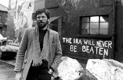 Sinn Fein president Gerry Adams pictured outside the party's HQ on the Falls Road in January 1984. Photograph: Pacemaker