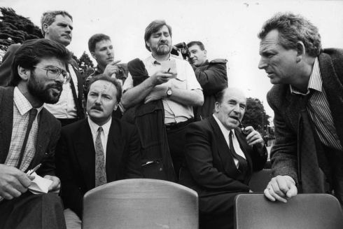 The Sinn Fein president, Mr Gerry Adams (left), with the other main speakers at a march in 1989, Mr George Galloway, MP;  Mr Neil Blaney, TD, and Mr Nicky Kelly.  Photograph: Matt Kavanagh / The Irish Times