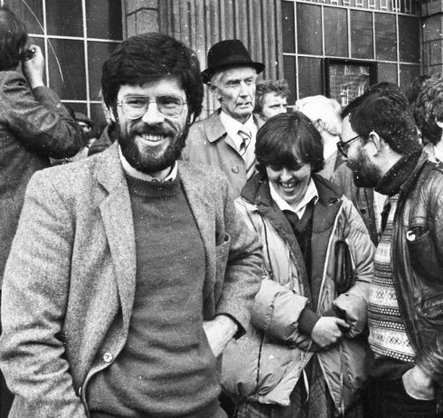 Among those who part icipated in the Free Nicky Kelly march to the GPO in 1986 were (from left) Mr Gerry Adams, vice-president of Sinn Fein and candidate in the British General Election; Mrs Bernadette McAliskey, the former Westminister MP, and Mr Thomas Hartley, a member of Sinn Fein from Belfast.  Photograph: Pat Langan / The Irish Times