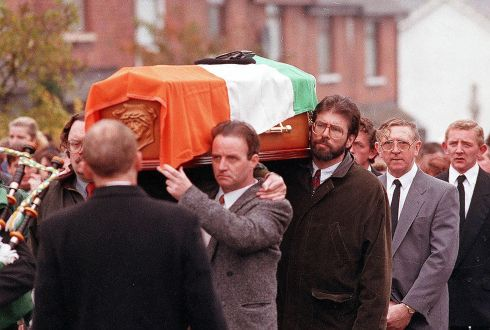 Gerry Adams carrying the coffin of IRA Shankill bomber Thomas Begley at his funeral, 1993. Photograph: Pacemaker