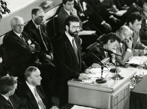 The Sinn Fein president Mr Gerry Adams addressing the opening session of the Forum for Peace and Reconciliation at Dublin Castle in 1994.  Photograph:  Frank Miller/ The Irish Times