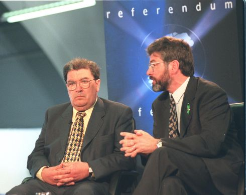 The SDLP leader Mr Hume and the Sinn Fein president Mr Gerry Adams in a televison studio at the referendum count in the King's Hall, Belfast, 1994.  Photograph: Frank Miller / The Irish Times