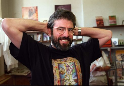 The Sinn Fein president Mr Gerry Adams before speaking to reporters at the Sinn Fein offices in Dublin in 1996.  Photograph: Frank Miller / The Irish Times