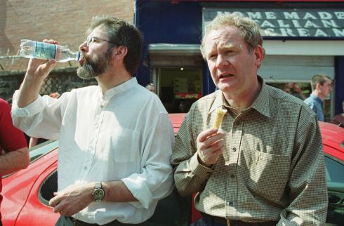 The Sinn Fein president Mr Gerry Adams and former Education Minister Mr Martin McGuinness while watching a march in Belfast to commemorate the 19th anniversary of the Hunger Strikes in 2000.  Photograph: Frank Miller/ The Irish Times