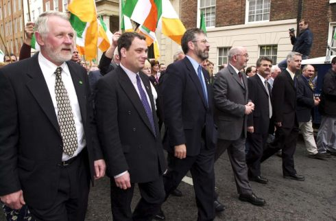 The Sinn Fein president Mr Gerry Adams arriving  with some of their new TDs at at the first sitting of the new Dail in Leinster House in Dublin in 2000.   Photograph: Frank Miller  / The Irish Times