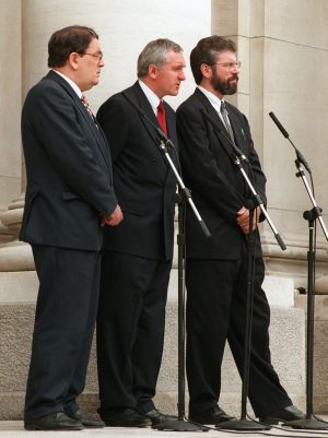 The SDLP leader Mr John Hume, the Taoiseach Mr Bertie Ahern and the Sinn Fein president Mr Gerry Adams during their press conference at Goverment Buildings in 1997. Photograph: Frank Miller / The Irish Times