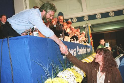 The Sinn Fein President Mr Gerry Adams greets Ms Martina Anderson on pre-release from Maghaberry Prison to attend the Sinn Fein Ard Fheis in 1998.  Photograph: Matt Kavanagh / The Irish Times