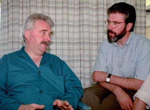 Sinn Fein leader Mr Gerry Adams (right) in the Mater Hospital yesterday to visit Mr Larry O Toole who was shot in 1998 in St Josephs Church Ballymun during a First Holy Communion ceremony. Photograph: David Sleator / The Irish Times