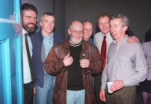 The Sinn Fein President Gerry Adams left, and Ard Comhairle member Martin McGuinness with IRA prisoners (The Balcombe Street gang) on pre-release from Portlaoise Prison to attend the Sinn Fein Ard Fheis in the RDS, Dublin in 1998.  Picture includes from left: Mr.Adams , Mr. Harry Duggan. Mr Hugh Doherty. Mr. Eddie Butler. Mr.McGuinness and Mr Joe O'Connell   Photograph: Matt Kavanagh / The Irish Times