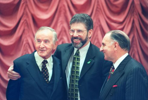 Former Taoiseach Albert Reynolds with SF president Gerry Adams, guest speaker, along with Institute president Paddy Galvin at the Institute of Directors Lunch in Dublin in 1998. Photograph: Joe St Leger / The Irish Times