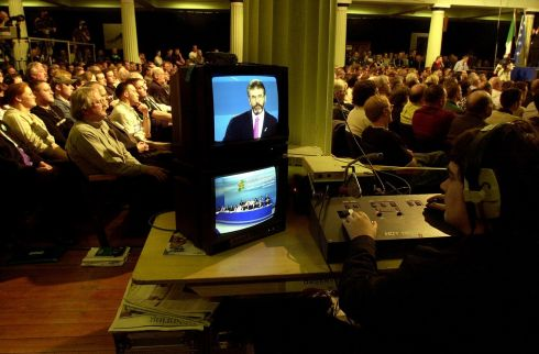 A television monitor showing live pictures from the address by the Sinn Fein president Mr. Gerry Adams, at a Sinn Fein Ard Fheis, in the RDS.   Photograph: Eric Luke / The Irish Times