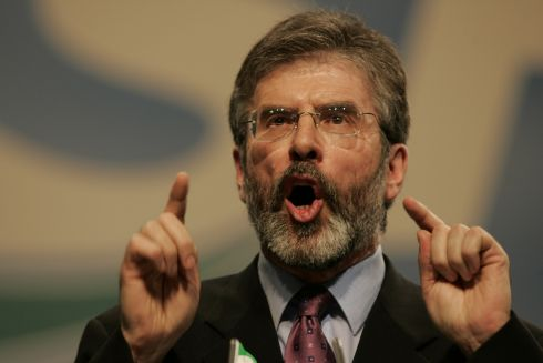 Sinn Fein leader, Gerry Adams MP MLA  addressing the Sinn Fein Ard Fheis 2005 in the RDS Dublin. Photographer: Dara Mac Donaill / The Irish Times