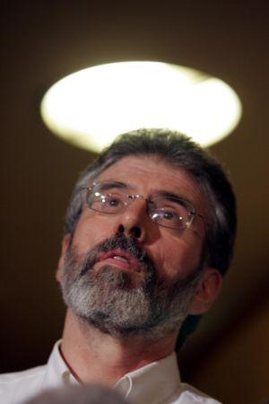 Gerry Adams president of Sinn Fein speaking to the media following the Ard Chomhairle meeting on policing at the Dulin Airport Hotel in 2006. Photograph: Cyril Byrne / The Irish Times