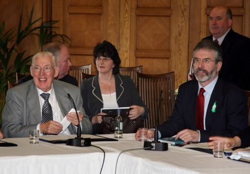 Democratic Unionist Party leader The Reverend Ian Paisley (left) and Sinn Fein President Gerry Adams speak to the media during a press conference at the Stormont Assembly building in Belfast.  Photograph: Pacemaker