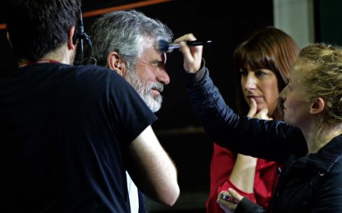 Sinn Fein leader Gerry Adams has make-up applied for a television interview, at the Dublin City Count and European Count, at the RDS Ballsbridge, 2014. Photograph:  Eric Luke  /  The Irish Times