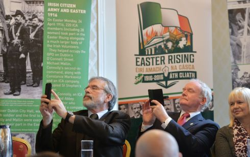 Gerry Adams and Martin McGuinness at the Sinn Fein launch of their 1916 Commemoration Plans at Whites Hotel off Dublin's O'Connell Street, 2016.    Photograph: Alan Betson / The Irish Times