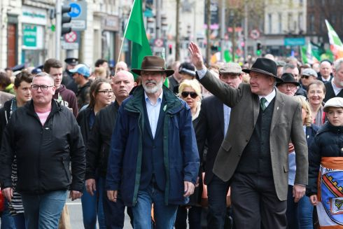 Sinn Fein's Gerry Adams and Martin McGuinness during an event celebrating the 1916 Rising in Dublin , 2016. Photograph: Nick Bradshaw / The Irish Times