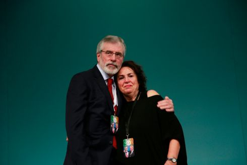 Gerry Adams and widow of Martin McGuinness Bernie (Bernadette) McGuinness at the Ard Fheis 2017.  Photograph Nick Bradshaw / The Irish Times