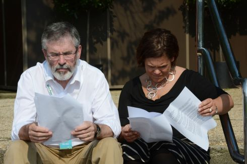 Sinn Feins  Gerry Adams and Mary Lou McDonald at the start of the partys Ard Feis in Killarney, 2012.  Photograph: Alan Betson / The Irish Times