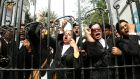A group of lawyers protest at the high court in Dhaka on Thursday after former prime minister  Khaleda Zia was sentenced to five years in prison. Photograph: Abir Abdullah/EPA