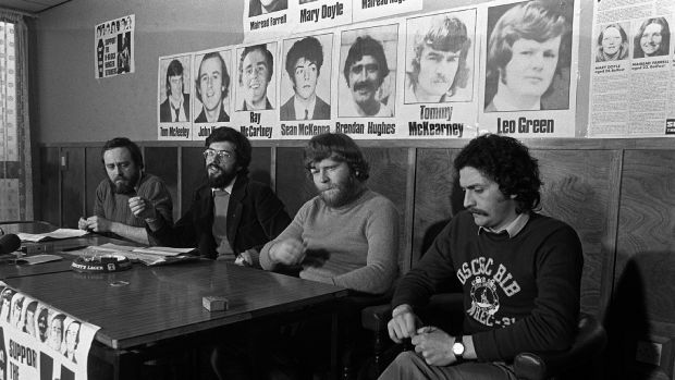 Danny Morrison, Gerry Adams, Kieran Nugent and Joe Maguire at a Sinn Féin conference at Lake Glenn following the end of IRA hunger strike in December 1980. Photograph: Pacemaker