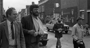 Danny Morrison with Gerry Adams  in west Belfast canvassing for the EEC elections in June 1984. Photograph: Pacemaker