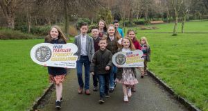 Children from a local Traveller group in Merrion Square at the launch of The Irish Traveller Ethnicity Celebration which takes place on  March 1st at the Royal Hospital Kilmainham, Dublin. Photograph: Brenda Fitzsimons/The Irish Times