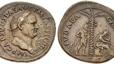 "Jewish men with the ""philosopher"" look are portrayed on Roman coins issued by the emperors Vespasian, such as these, and Titus. Photograph: Classical Numismatic Group / Wikimedia Creative Commons"