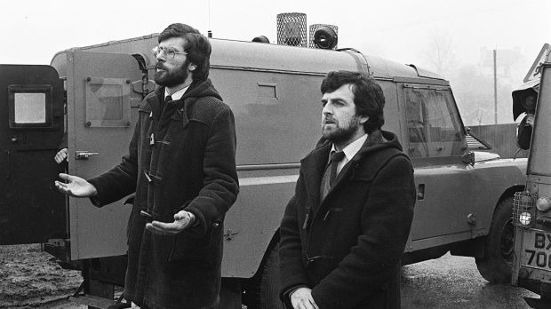 Gerry Adams at the funeral of IRA man Henry Hogan at Dunloy, Co Antrim. Photograph: Pacemaker Press Intl