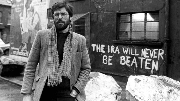 Sinn Féin president Gerry Adams pictured outside the party's HQ on the Falls Road, Belfast, in January 1984. Photograph: Pacemaker Belfast