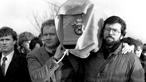 Gerry Adams helps carry the coffin of IRA man Brendan Moley at his funeral in 1988. Photograph: Pacemaker Belfast