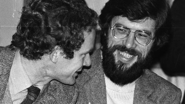 Martin McGuinness and Gerry Adams at the 1982 Sinn Féin ardfheis in the Mansion House, Dublin. Photograph: Paddy Whelan/The Irish Times