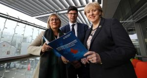 Enterprise Ireland chief executive Julie Sinnamon with Northern Powerhouse director Henri Murison and Minister for Business, Enterprise and Innovation Heather Humphreys at the launch of Enterprise Ireland's Northern Powerhouse report. Photograph: Sam Boal/RollingNews.ie