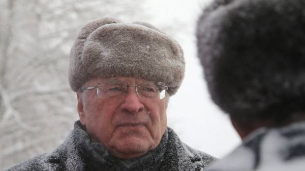 Leader of the Liberal Democratic Party of Russia Vladimir Zhirinovsky at a the traditional mass cross country skiing race in Khimki, outside Moscow. Photograph: Maxim Shipenkov/EPA