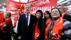 Pavel Grudinin with supporters in the Volga river city of Togliatti, Russia. The 57-year-old millionaire strawberry farm director has been nominated by the Communist Party. Photograph: Sergei Karpukhin/Reuters