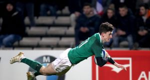 Winger James McCarthy scores a try against France during last week's Under-20 Six Nations Championship game at   Chaban-Delmas, Bordeaux. Photograph: Bryan Keane/Inpho