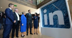 Taoiseach Leo Varadkar at  the opening of LinkedIn's EMEA head office in Dublin: while the tax rate was for many decades a vital support in attracting jobs to Ireland, this is no longer the case.  Photograph: Dara Mac Donaill
