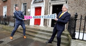 Donnacha Ryan, left, brand ambassador ICS Mortgages, and Fergal McGrath, Dilosk CEO, launching a new mortgage product.