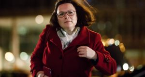 "Chairwoman of the Social Democratic Party  Andrea Nahles: says  coalition agreement carries a ""big, fat social democratic signature"".  Photograph: Clemens Bilan"