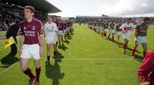 Galway captain Kieran Fitzgerald leads his team out to face Mayo in the Connacht SFC final of 2007.  Photograph: Morgan Treacy/Inpho