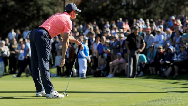 Rory McIlroy watches a putt during his opening round at the Pebble Beach Pro-Am. Photograph: Mike Ehrmann/Getty