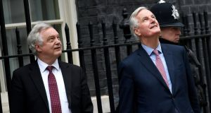 Brexit secretary David Davis and  European Union chief negotiator  Michel Barnier at Downing Street last Monday. Photograph: Neil Hall/EPA