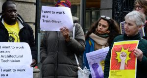 Part of the demonstration for the unrestricted right to work for asylum seekers outside the Dáil .Photograph: Cyril Byrne
