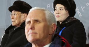 Kim Yo-jong (right), sister of North Korean leader Kim Jong-un, and Kim Yong-nam (left), the North's ceremonial head of state, seated behind US vice-president Mike Pence during the opening ceremony of the Winter Olympics in Pyeongchang, South Korea. Photograph: Yonhap/EPA