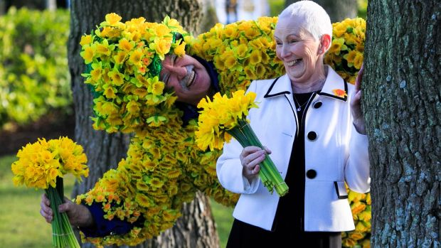 Cancer survivor Stephanie Powell and James Gilleran from the Navan Road during the launch of Irish Cancer Society's Daffodil Day at the Citywest Hotel, Dublin. Photograph: Gareth Chaney Collins